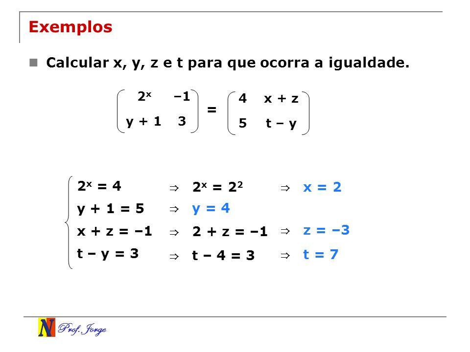 Prof. Jorge Exemplos Calcular x, y, z e t para que ocorra a igualdade. 2x2x –1 y + 13 4x + z 5t – y = 2 x = 4 y + 1 = 5 x + z = –1 t – y = 3 2 x = 2 2