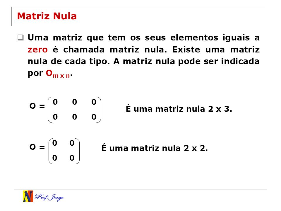 Prof. Jorge Matriz Nula Uma matriz que tem os seus elementos iguais a zero é chamada matriz nula. Existe uma matriz nula de cada tipo. A matriz nula p