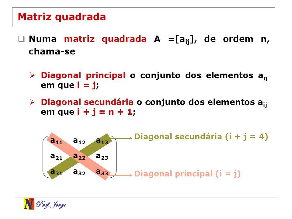 Prof. Jorge a 11 a 12 a 13 a 21 a 22 a 23 a 31 a 32 a 33 Matriz quadrada Numa matriz quadrada A =[a ij ], de ordem n, chama-se Diagonal principal o co
