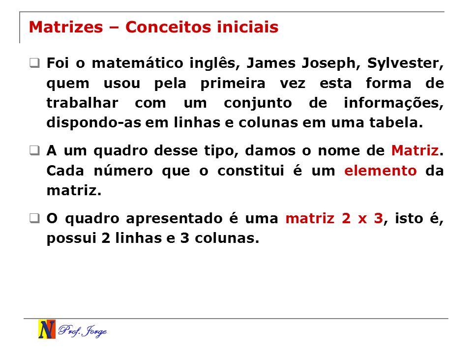 Prof. Jorge Matrizes – Conceitos iniciais Foi o matemático inglês, James Joseph, Sylvester, quem usou pela primeira vez esta forma de trabalhar com um