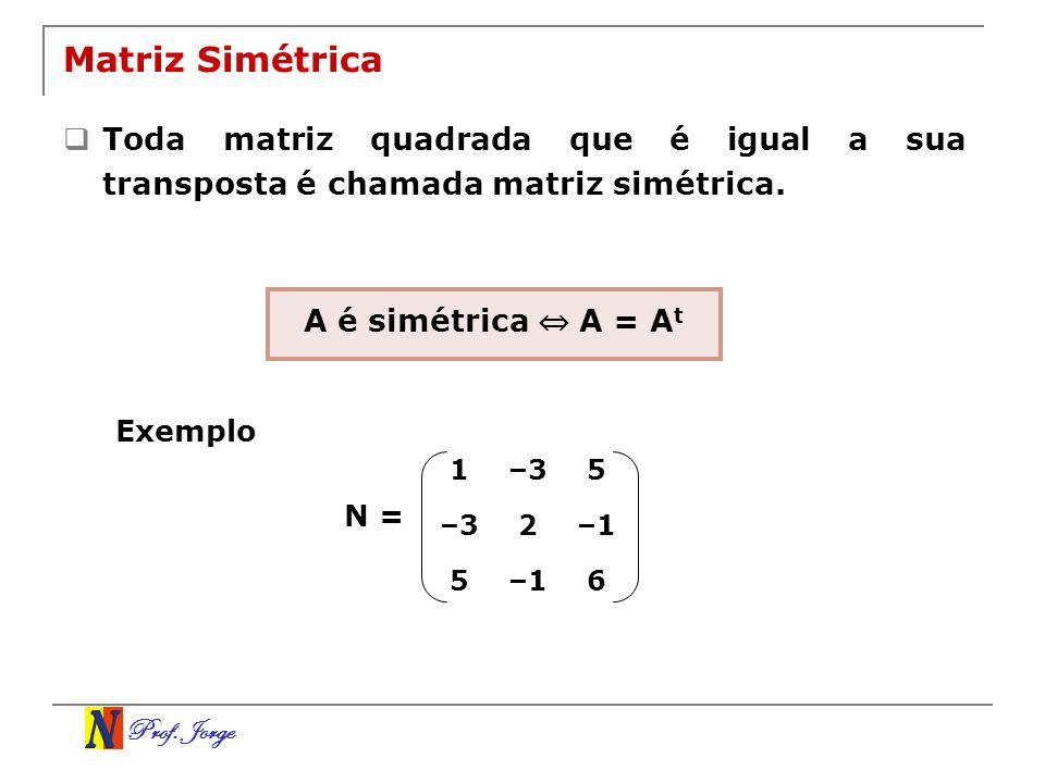 Prof. Jorge Matriz Simétrica Toda matriz quadrada que é igual a sua transposta é chamada matriz simétrica. 1–35 2–1 5 6 N = A é simétrica A = A t Exem