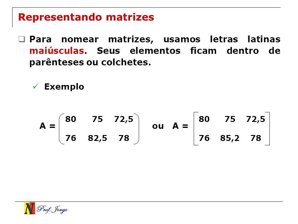 Prof. Jorge Representando matrizes Para nomear matrizes, usamos letras latinas maiúsculas. Seus elementos ficam dentro de parênteses ou colchetes. Exe