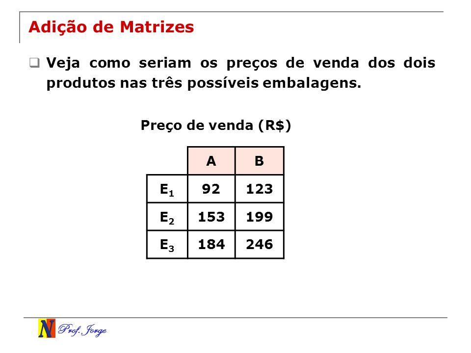 Prof. Jorge Adição de Matrizes Veja como seriam os preços de venda dos dois produtos nas três possíveis embalagens. AB E1E1 92123 E2E2 153199 E3E3 184