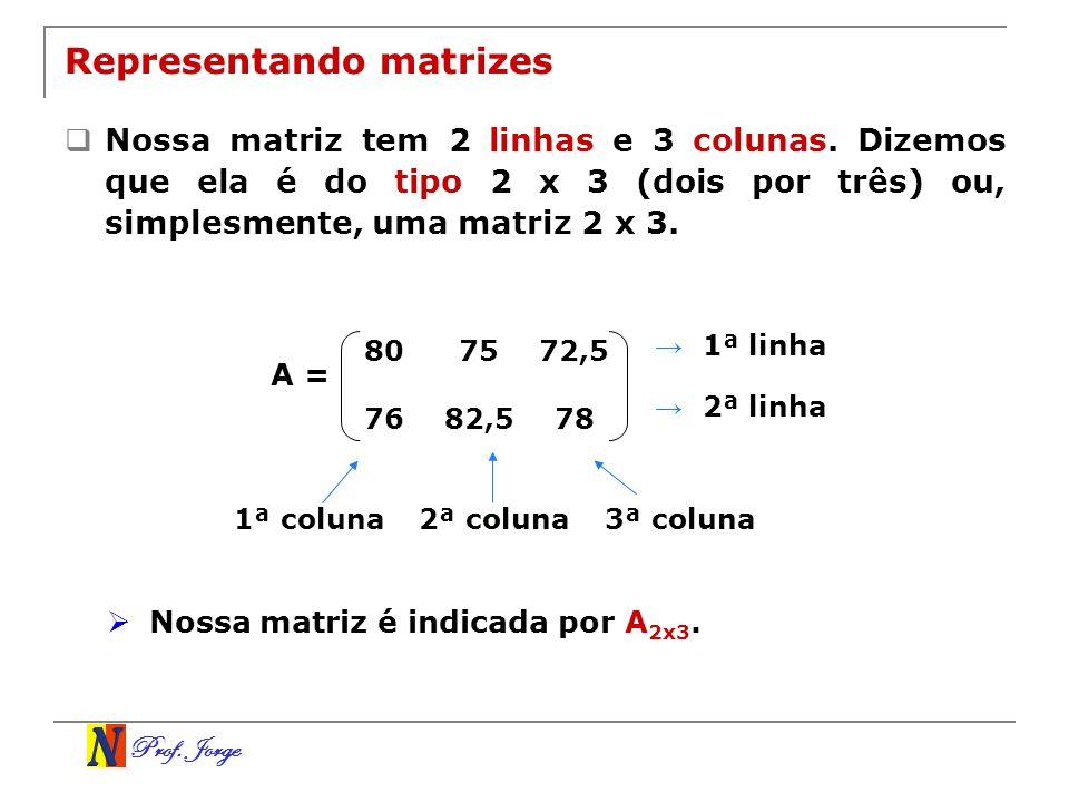 Prof. Jorge Representando matrizes Nossa matriz tem 2 linhas e 3 colunas. Dizemos que ela é do tipo 2 x 3 (dois por três) ou, simplesmente, uma matriz