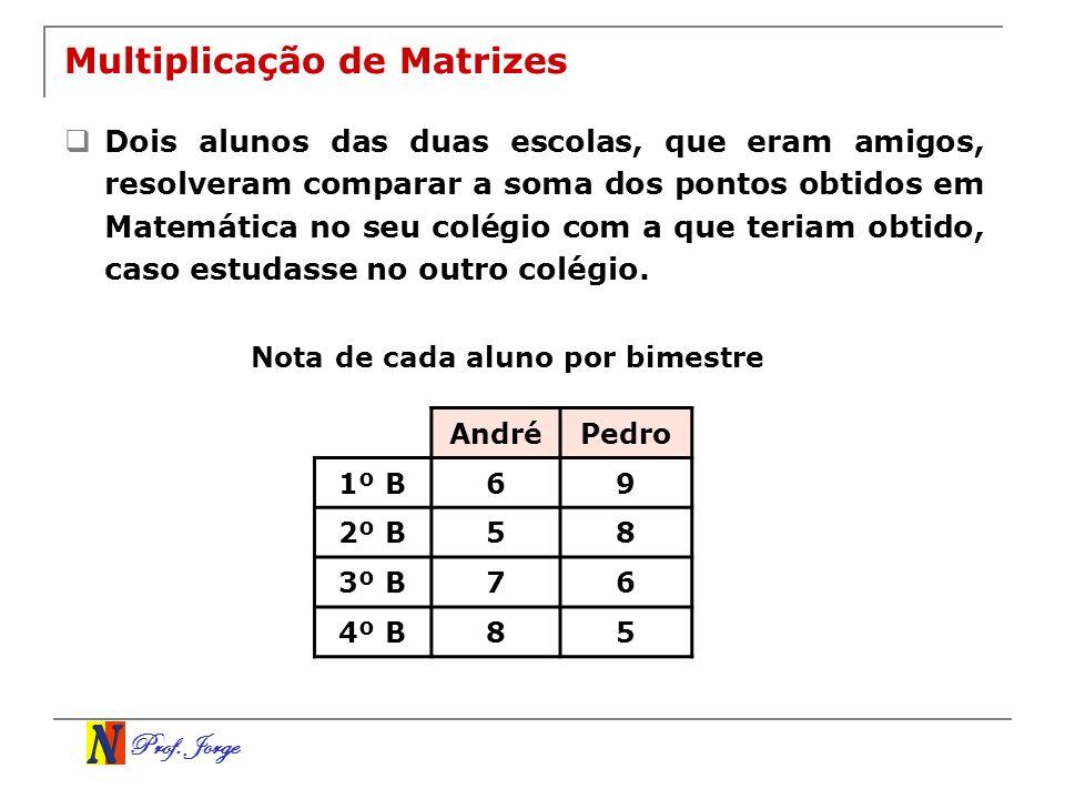 Prof. Jorge Multiplicação de Matrizes Dois alunos das duas escolas, que eram amigos, resolveram comparar a soma dos pontos obtidos em Matemática no se