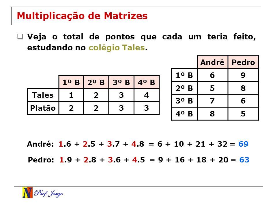Prof. Jorge Multiplicação de Matrizes Veja o total de pontos que cada um teria feito, estudando no colégio Tales. AndréPedro 1º B69 2º B58 3º B76 4º B