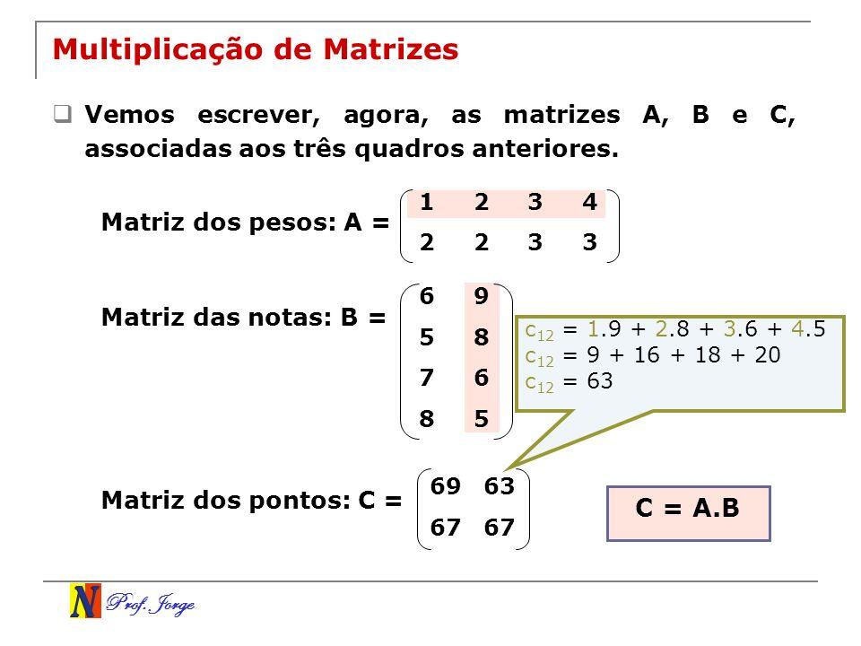 Prof. Jorge 1234 2233 69 58 76 85 Multiplicação de Matrizes Vemos escrever, agora, as matrizes A, B e C, associadas aos três quadros anteriores. Matri