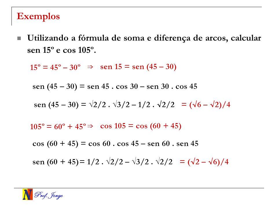 Prof.Jorge Transformação em produto sen (a + b) = sen a.
