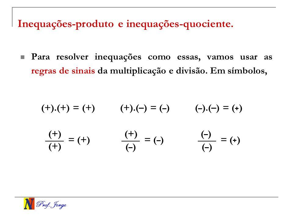 Prof. Jorge Inequações-produto e inequações-quociente. Para resolver inequações como essas, vamos usar as regras de sinais da multiplicação e divisão.