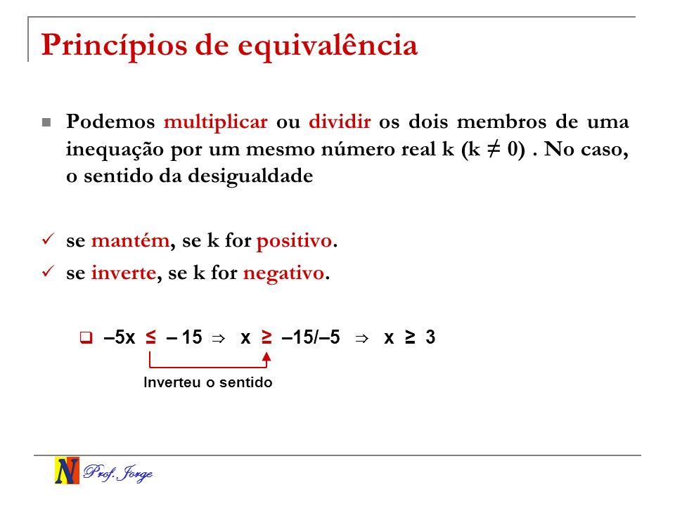 Prof. Jorge Princípios de equivalência Podemos multiplicar ou dividir os dois membros de uma inequação por um mesmo número real k (k 0). No caso, o se