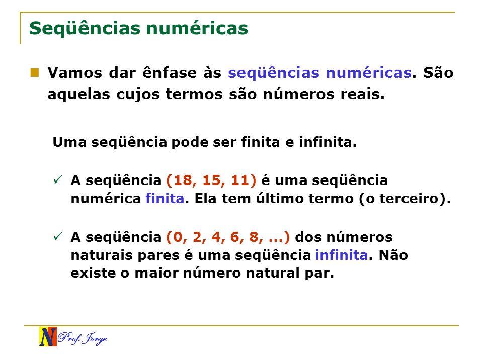 Prof. Jorge Seqüências numéricas Vamos dar ênfase às seqüências numéricas. São aquelas cujos termos são números reais. Uma seqüência pode ser finita e