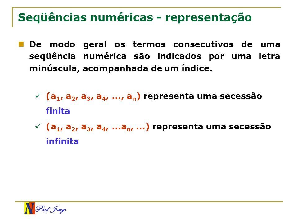 Prof. Jorge Seqüências numéricas - representação De modo geral os termos consecutivos de uma seqüência numérica são indicados por uma letra minúscula,