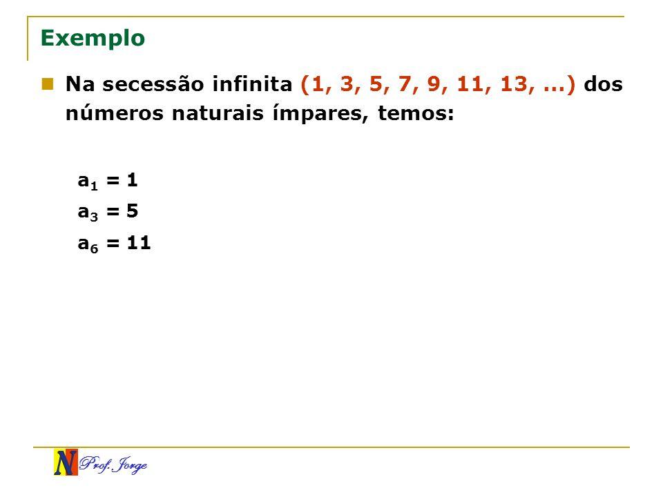 Prof. Jorge Exemplo Na secessão infinita (1, 3, 5, 7, 9, 11, 13,...) dos números naturais ímpares, temos: a 1 = 1 a 3 = 5 a 6 = 11