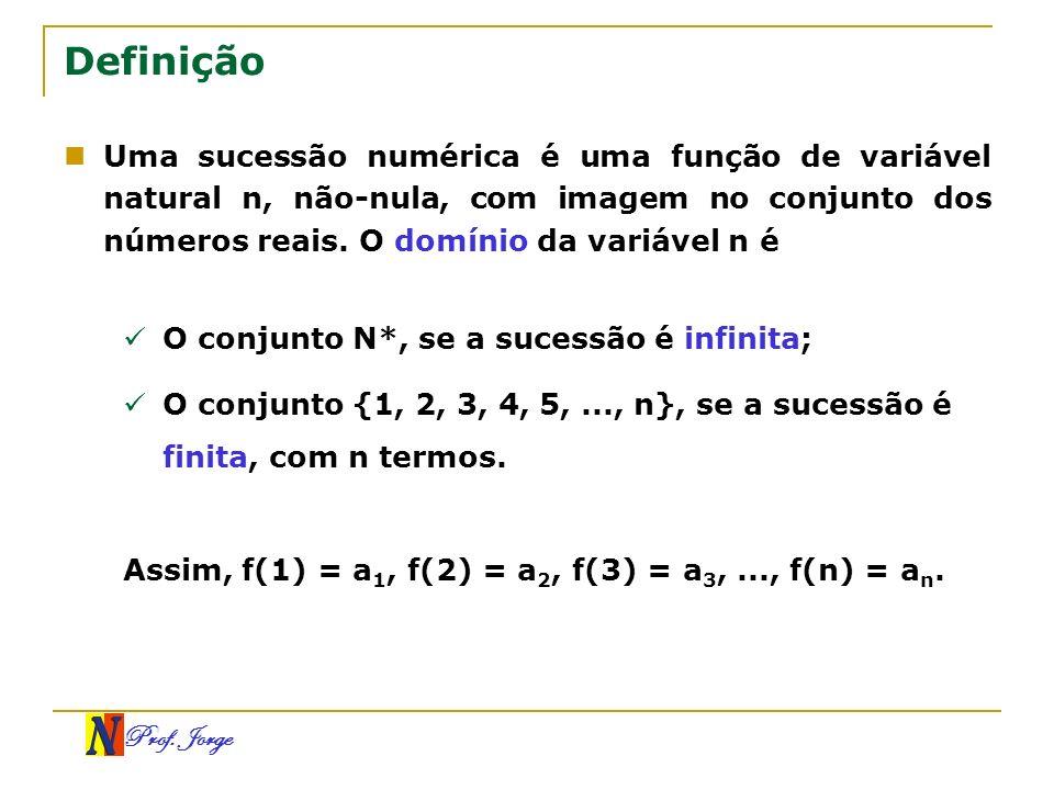 Prof. Jorge Definição Uma sucessão numérica é uma função de variável natural n, não-nula, com imagem no conjunto dos números reais. O domínio da variá