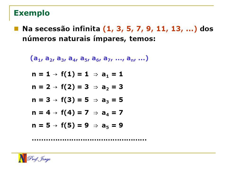 Prof. Jorge Exemplo Na secessão infinita (1, 3, 5, 7, 9, 11, 13,...) dos números naturais ímpares, temos: n = 1 f(1) = 1 a 1 = 1 n = 2 f(2) = 3 a 2 =