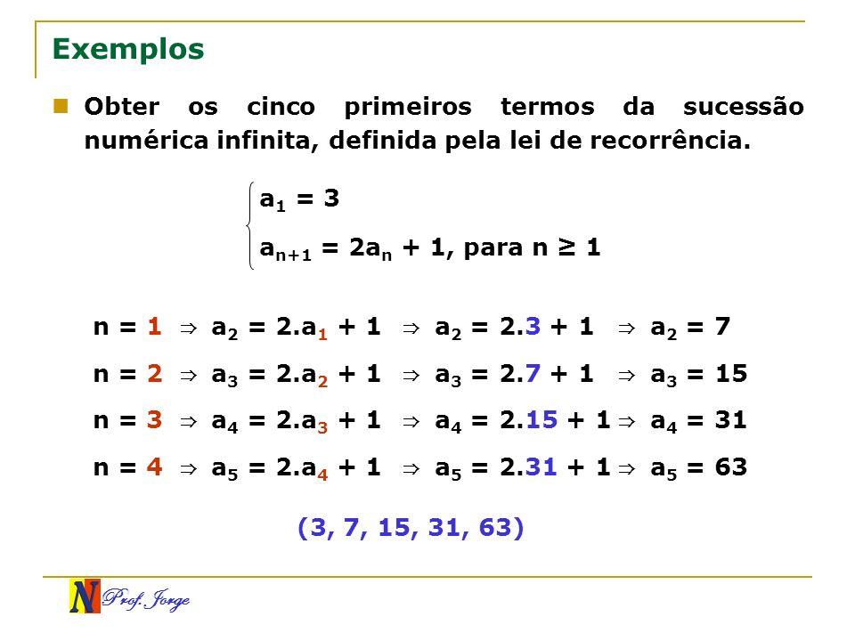 Prof. Jorge Exemplos Obter os cinco primeiros termos da sucessão numérica infinita, definida pela lei de recorrência. a 1 = 3 a n+1 = 2a n + 1, para n