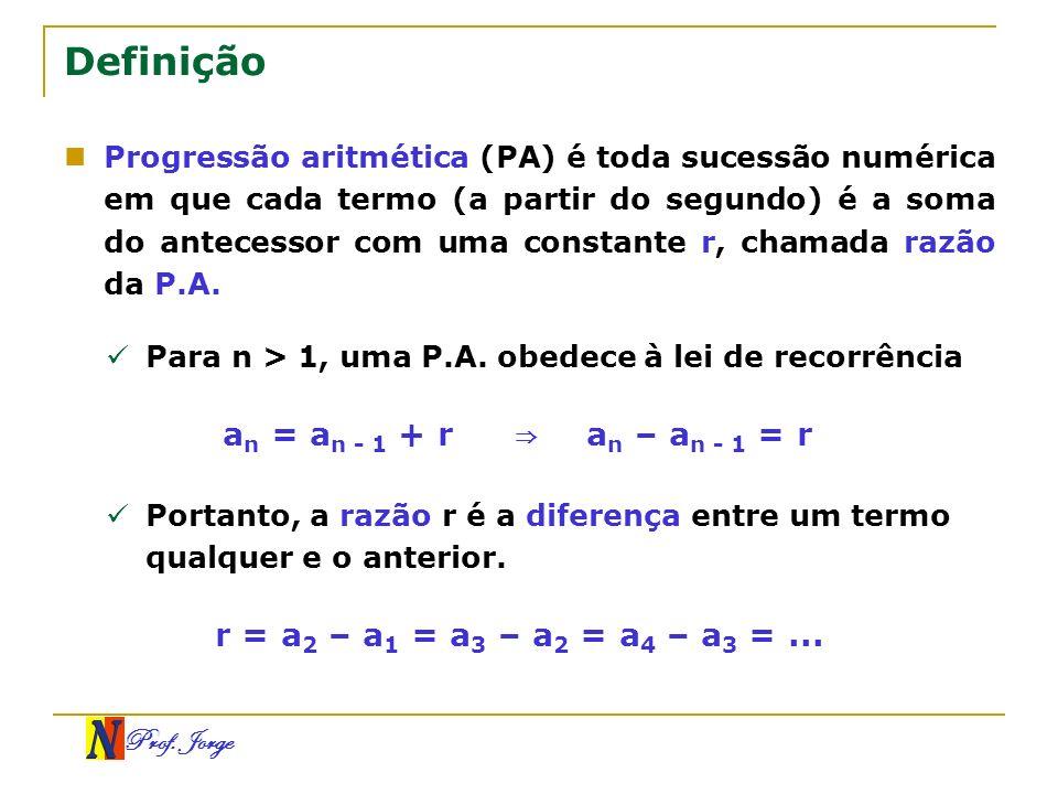 Prof. Jorge Definição Progressão aritmética (PA) é toda sucessão numérica em que cada termo (a partir do segundo) é a soma do antecessor com uma const