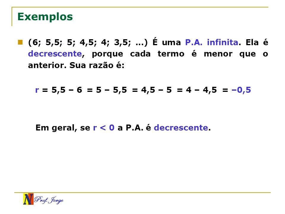 Prof. Jorge Exemplos (6; 5,5; 5; 4,5; 4; 3,5;...) É uma P.A. infinita. Ela é decrescente, porque cada termo é menor que o anterior. Sua razão é: r = 5