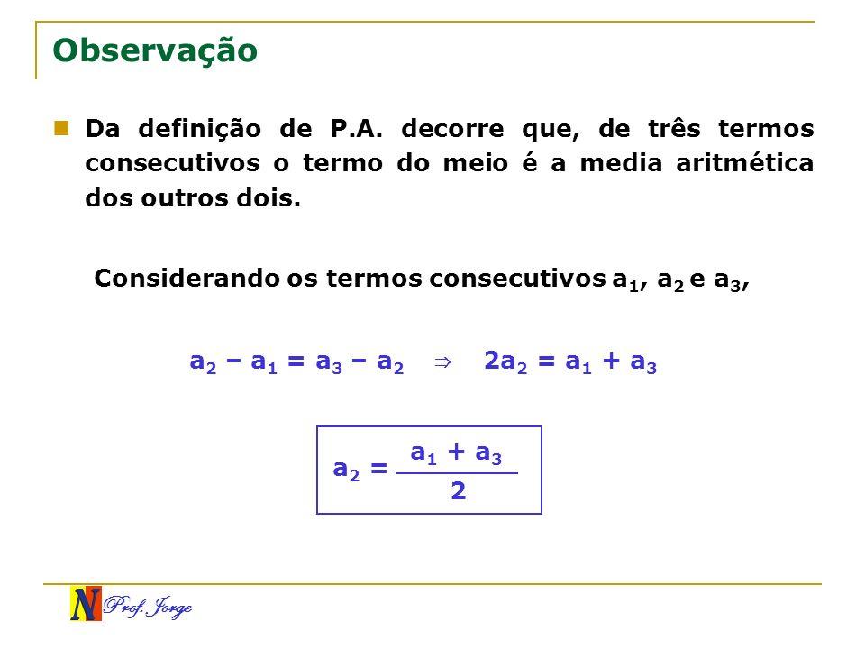 Prof. Jorge Observação Da definição de P.A. decorre que, de três termos consecutivos o termo do meio é a media aritmética dos outros dois. Considerand
