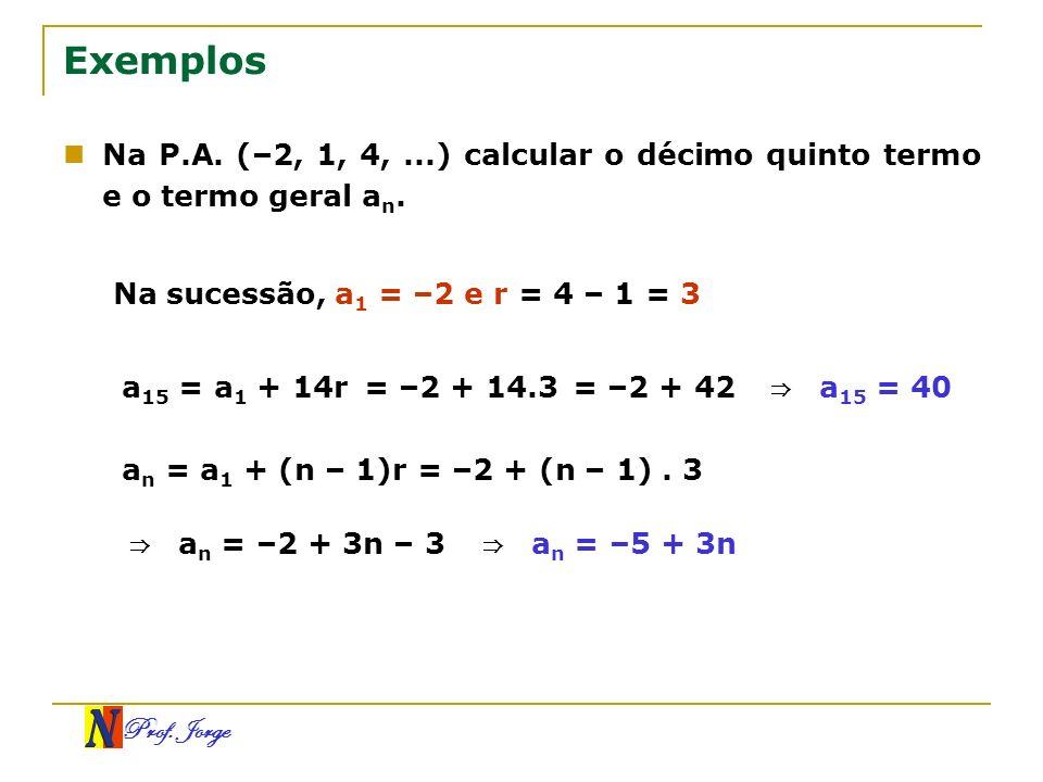 Prof. Jorge Exemplos Na P.A. (–2, 1, 4,...) calcular o décimo quinto termo e o termo geral a n. Na sucessão, a 1 = –2 e r = 4 – 1 = 3 a 15 = a 1 + 14r