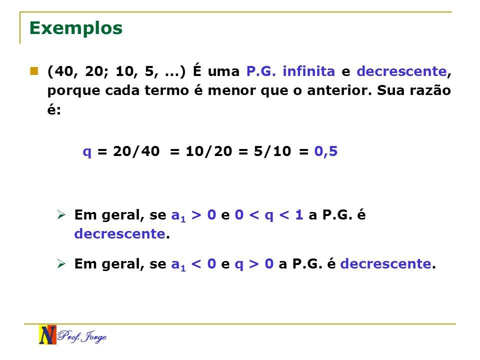 Prof. Jorge Exemplos (40, 20; 10, 5,...) É uma P.G. infinita e decrescente, porque cada termo é menor que o anterior. Sua razão é: q = 20/40= 0,5= 10/