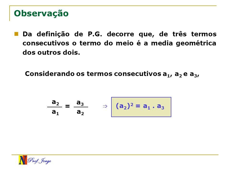 Prof. Jorge Observação Da definição de P.G. decorre que, de três termos consecutivos o termo do meio é a media geométrica dos outros dois. Considerand