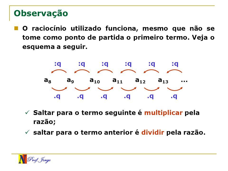 Prof. Jorge :q Observação O raciocínio utilizado funciona, mesmo que não se tome como ponto de partida o primeiro termo. Veja o esquema a seguir. a 8