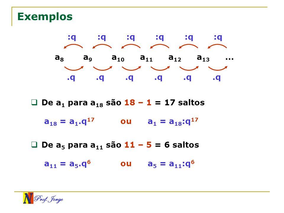 Prof. Jorge :q Exemplos a 8 a 9 a 10 a 11 a 12 a 13....q De a 1 para a 18 são 18 – 1 = 17 saltos a 18 = a 1.q 17 ou a 1 = a 18 :q 17 De a 5 para a 11