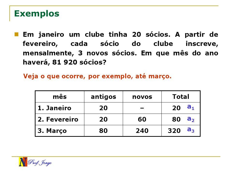 Prof. Jorge Exemplos Em janeiro um clube tinha 20 sócios. A partir de fevereiro, cada sócio do clube inscreve, mensalmente, 3 novos sócios. Em que mês