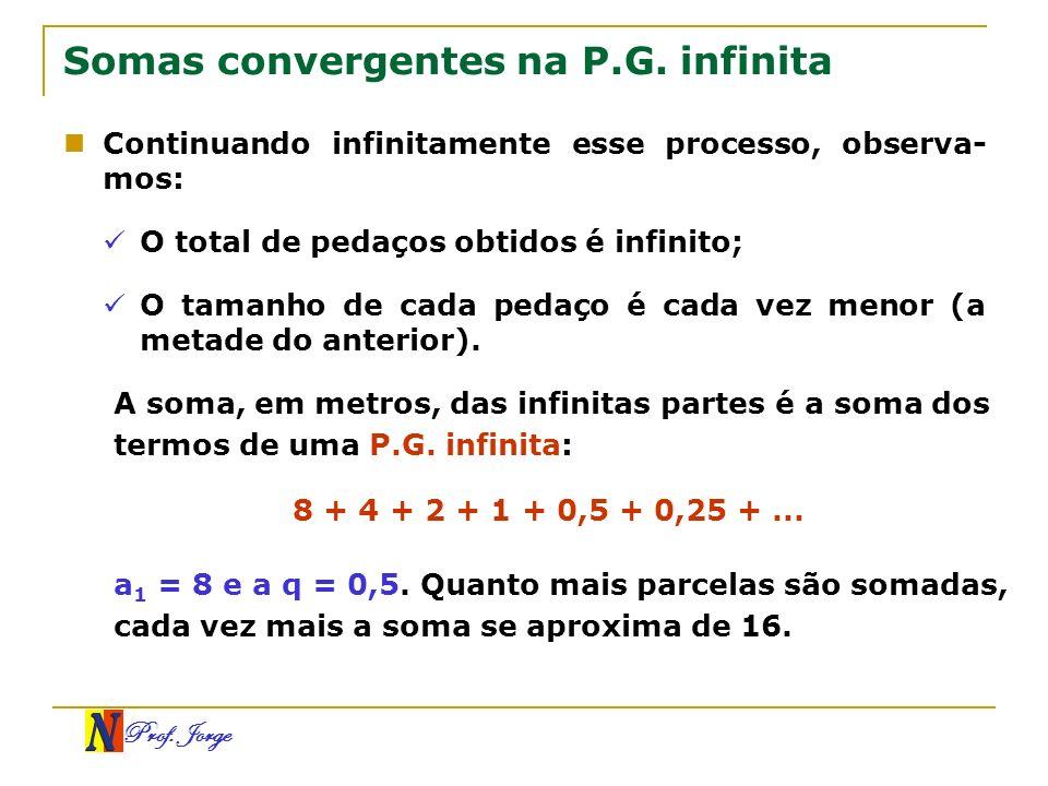 Prof. Jorge Somas convergentes na P.G. infinita Continuando infinitamente esse processo, observa- mos: O total de pedaços obtidos é infinito; O tamanh