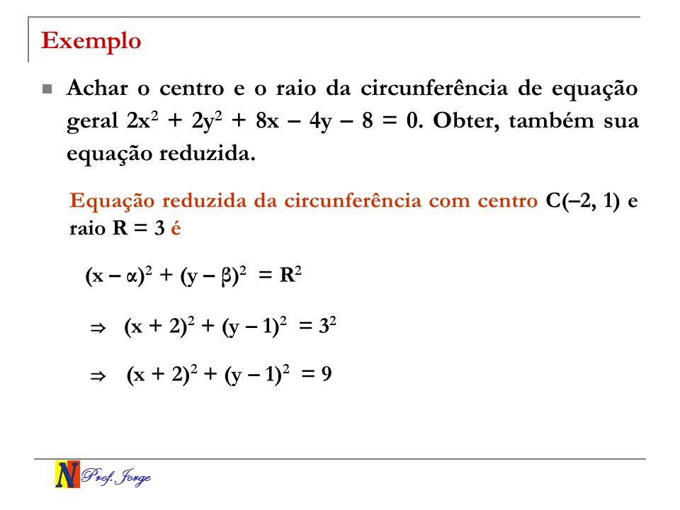 Prof. Jorge Exemplo Achar o centro e o raio da circunferência de equação geral 2x 2 + 2y 2 + 8x – 4y – 8 = 0. Obter, também sua equação reduzida. Equa
