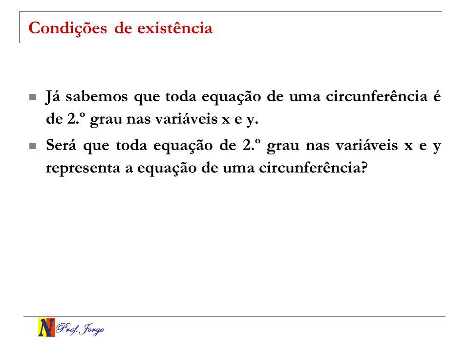 Prof. Jorge Condições de existência Já sabemos que toda equação de uma circunferência é de 2.º grau nas variáveis x e y. Será que toda equação de 2.º