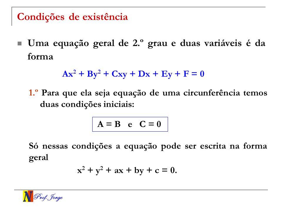 Prof. Jorge Condições de existência Uma equação geral de 2.º grau e duas variáveis é da forma Ax 2 + By 2 + Cxy + Dx + Ey + F = 0 1.º Para que ela sej