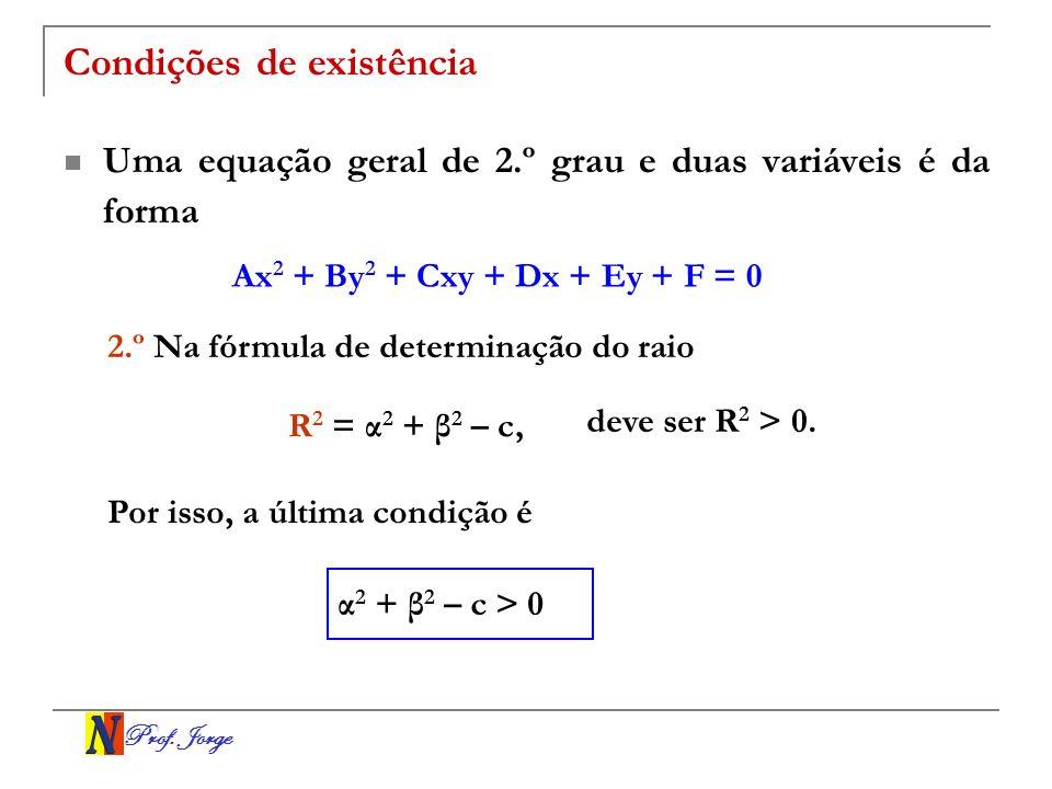 Prof. Jorge Condições de existência Uma equação geral de 2.º grau e duas variáveis é da forma Ax 2 + By 2 + Cxy + Dx + Ey + F = 0 2.º Na fórmula de de