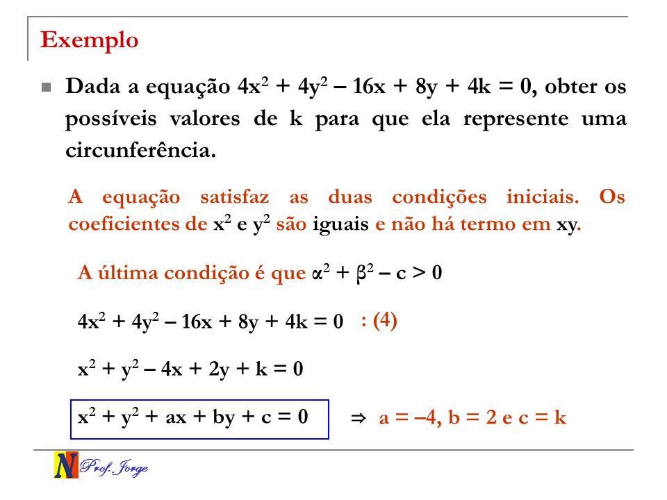 Prof. Jorge Exemplo Dada a equação 4x 2 + 4y 2 – 16x + 8y + 4k = 0, obter os possíveis valores de k para que ela represente uma circunferência. A equa
