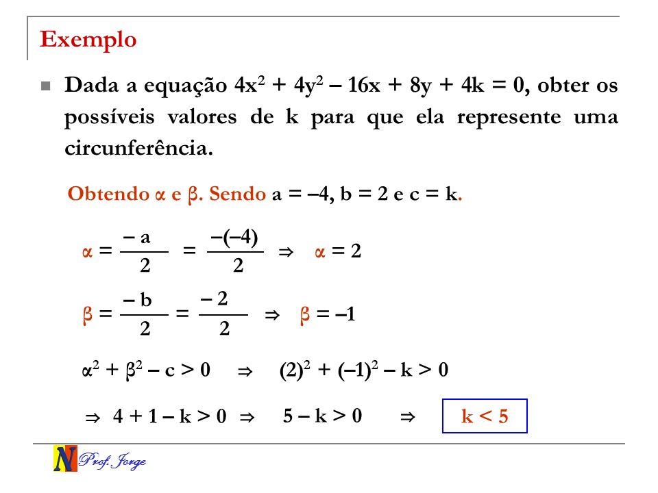 Prof. Jorge Exemplo Dada a equação 4x 2 + 4y 2 – 16x + 8y + 4k = 0, obter os possíveis valores de k para que ela represente uma circunferência. Obtend