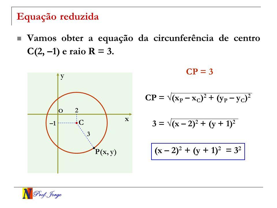Prof. Jorge Equação reduzida Vamos obter a equação da circunferência de centro C(2, –1) e raio R = 3. x y O 3 C P(x, y) –1 2 CP = 3 CP = (x P – x C )