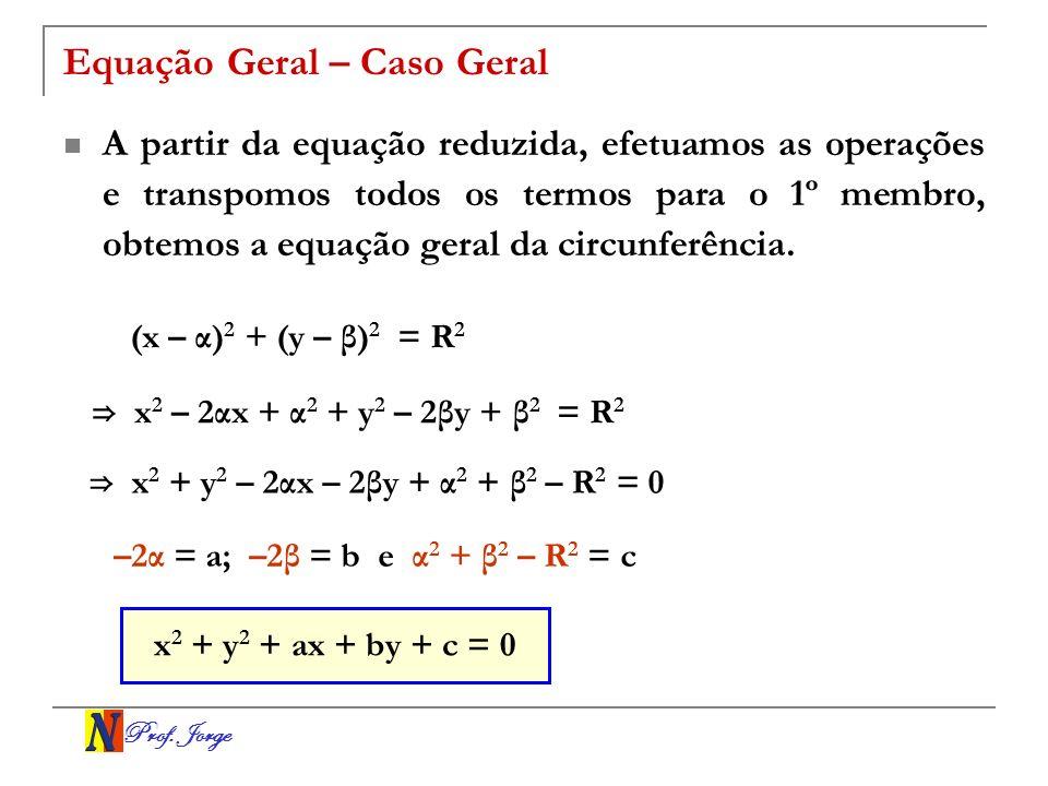 Prof.Jorge Exemplo Obter uma equação geral da circunferência de centro C(2, –3) e raio 4.