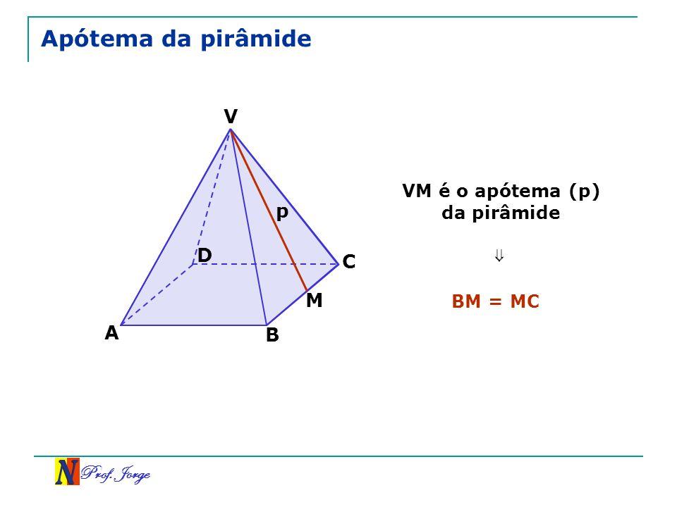 Prof. Jorge V A B C D Apótema da pirâmide VM é o apótema (p) da pirâmide p M BM = MC