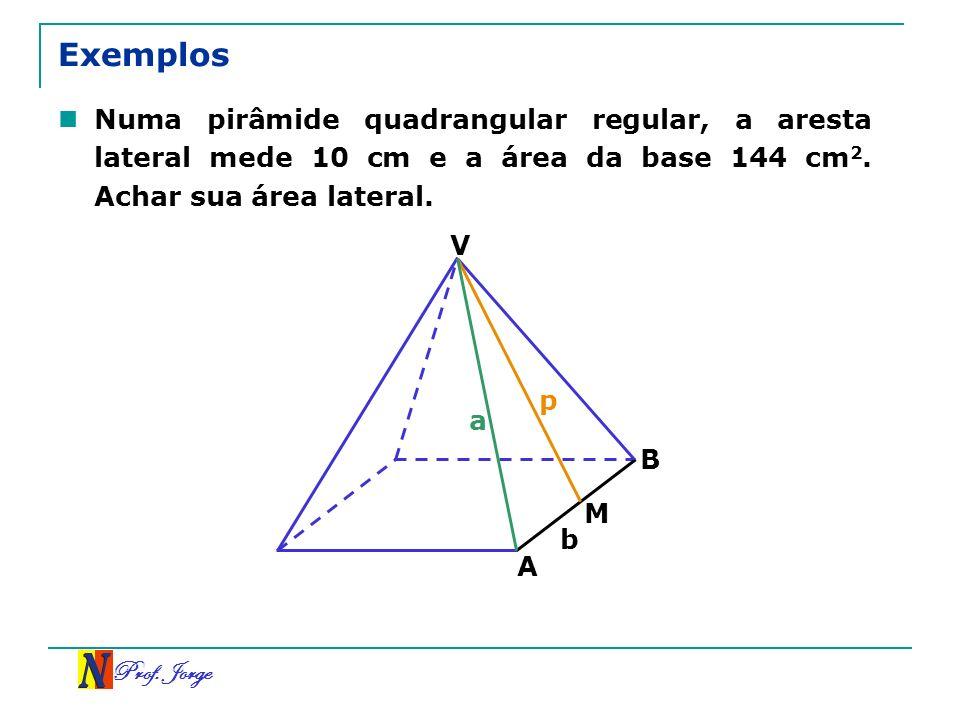 Prof. Jorge Exemplos Numa pirâmide quadrangular regular, a aresta lateral mede 10 cm e a área da base 144 cm 2. Achar sua área lateral. V B A M a p b