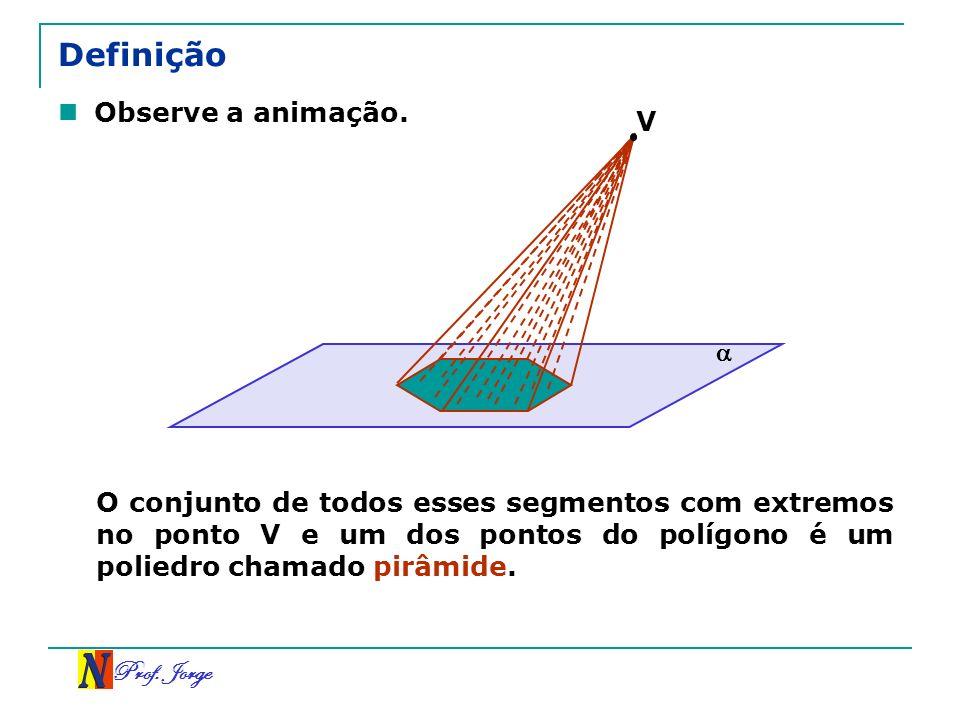 Prof. Jorge Definição Observe a animação. O conjunto de todos esses segmentos com extremos no ponto V e um dos pontos do polígono é um poliedro chamad