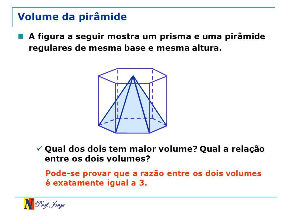Prof. Jorge Volume da pirâmide A figura a seguir mostra um prisma e uma pirâmide regulares de mesma base e mesma altura. Qual dos dois tem maior volum