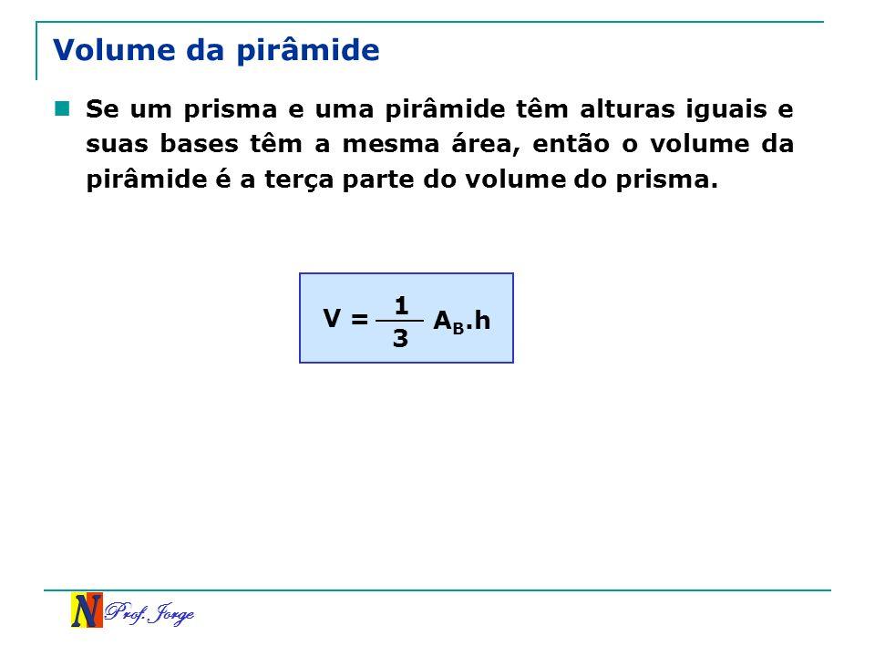 Prof. Jorge Volume da pirâmide Se um prisma e uma pirâmide têm alturas iguais e suas bases têm a mesma área, então o volume da pirâmide é a terça part