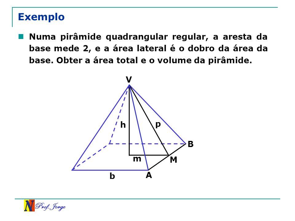 Prof. Jorge Exemplo Numa pirâmide quadrangular regular, a aresta da base mede 2, e a área lateral é o dobro da área da base. Obter a área total e o vo