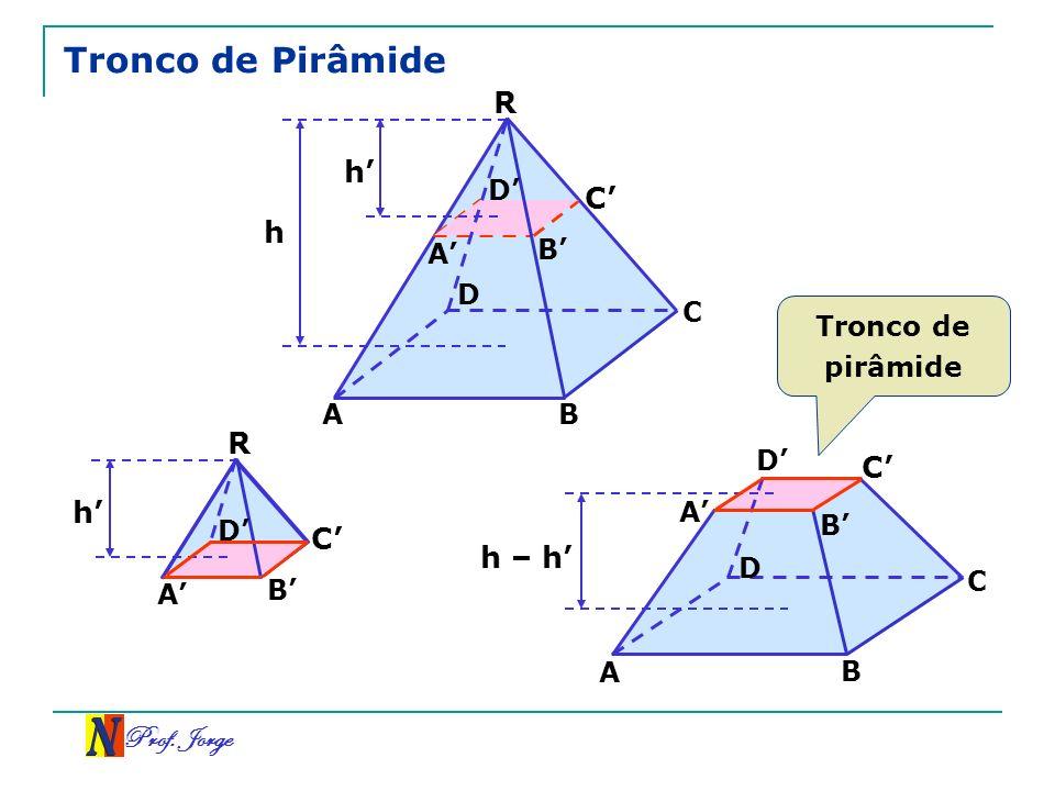 Prof. Jorge Tronco de Pirâmide R C A h B D A B C D h C A h – h B D A B C D R A B C D h Tronco de pirâmide