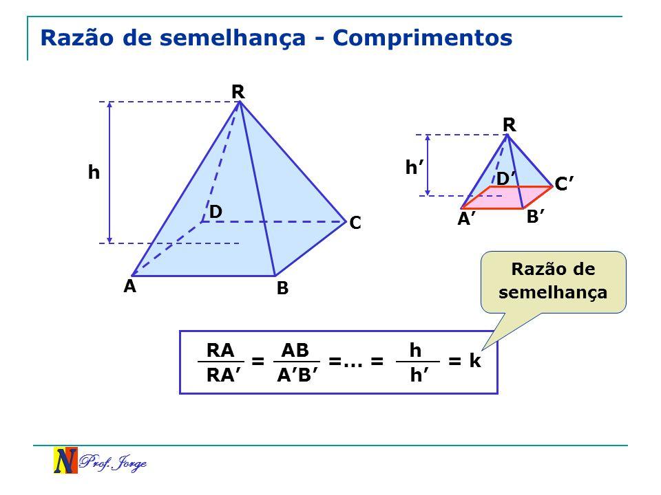 Prof. Jorge Razão de semelhança - Comprimentos R C A h D R A B C D h B = RA AB =... = h h = k Razão de semelhança