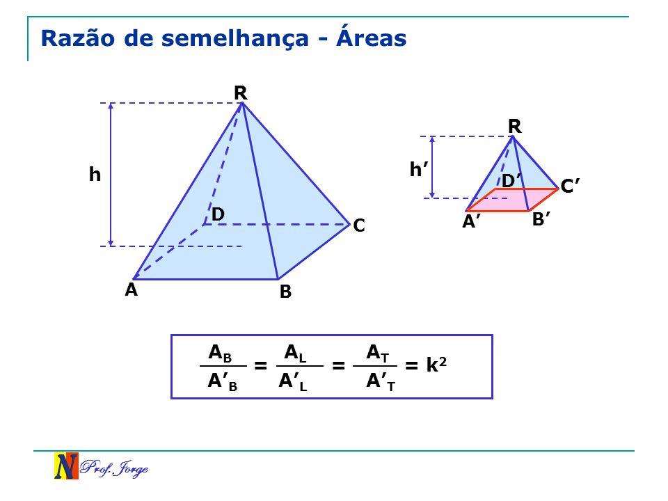 Prof. Jorge Razão de semelhança - Áreas R C A h D R A B C D h B = ABAB ABAB ALAL ALAL = ATAT ATAT = k 2