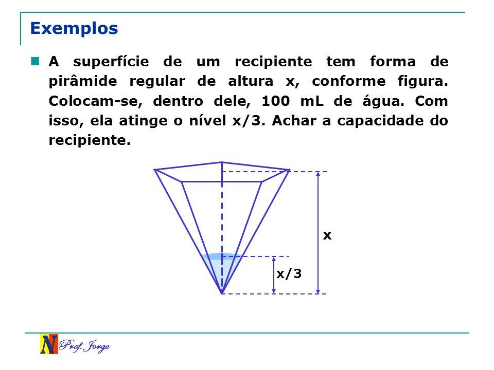 Prof. Jorge Exemplos A superfície de um recipiente tem forma de pirâmide regular de altura x, conforme figura. Colocam-se, dentro dele, 100 mL de água