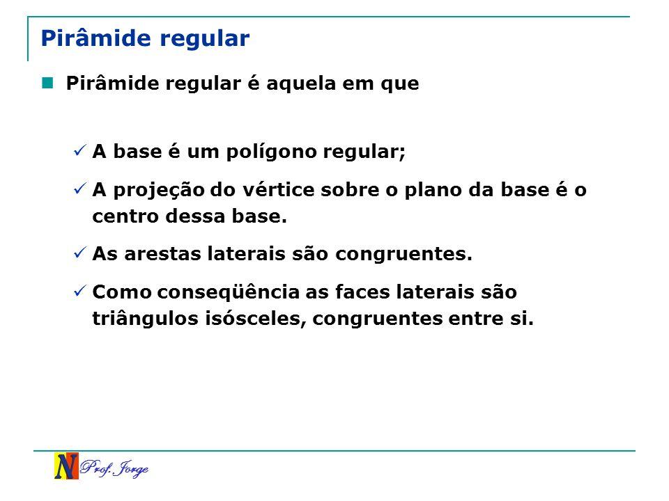 Prof. Jorge Pirâmide regular Pirâmide regular é aquela em que A base é um polígono regular; A projeção do vértice sobre o plano da base é o centro des