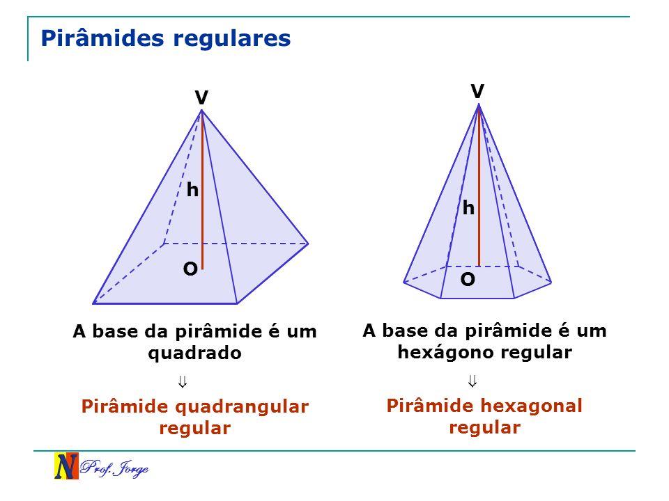 Prof. Jorge Pirâmides regulares A base da pirâmide é um quadrado Pirâmide quadrangular regular A base da pirâmide é um hexágono regular Pirâmide hexag